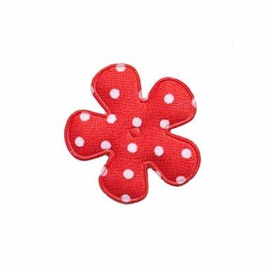 Applicatie bloem rood met witte stippen satijn klein 25 mm (ca. 100 stuks)