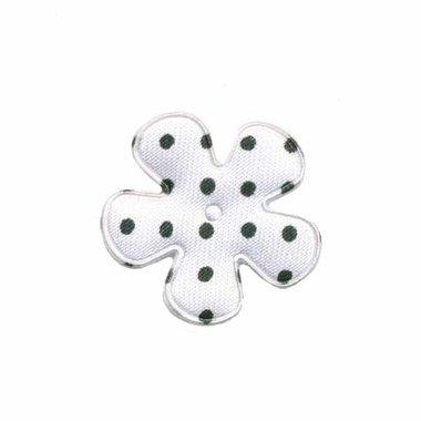 Applicatie bloem wit met zwarte stippen satijn klein 25 mm (ca. 100 stuks)