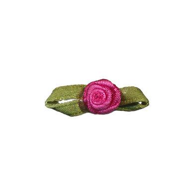 Roosje satijn fuchsia op blad 10 x 30 mm (ca. 25 stuks)