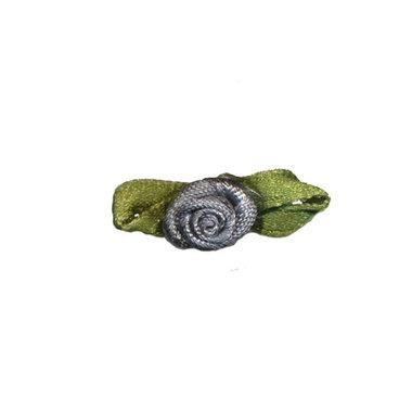 Roosje satijn antraciet grijs op blad 10 x 30 mm (ca. 25 stuks)