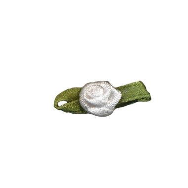 Roosje satijn wit op blad 10 x 30 mm (ca. 25 stuks)