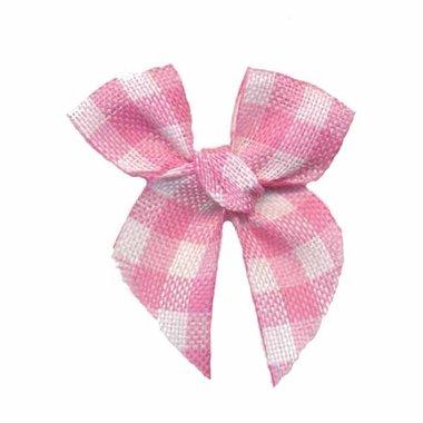 Boerenbont strikje geruit roze-wit (ca. 25 stuks)
