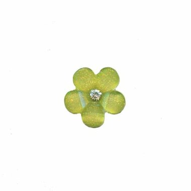 Flatback groene bloem met 'kristalletje/strass' 17 mm (10 stuks)