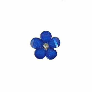 Flatback kobalt blauwe bloem met 'kristalletje/strass' 17 mm (10 stuks)