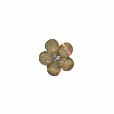 Flatback grijze bloem met 'kristalletje/strass' 17 mm (10 stuks)