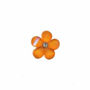 Flatback oranje bloem met 'kristalletje/strass' 17 mm (10 stuks)