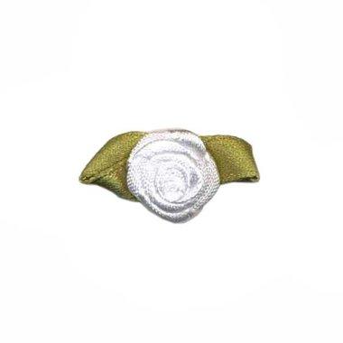 Roosje satijn gebroken wit op blad 15 x 25 mm (ca. 25 stuks)