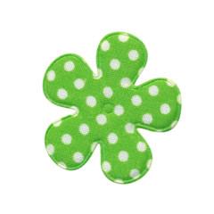 Applicatie bloem fel groen met witte stip katoen middel 35 mm (ca. 25 stuks)