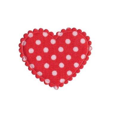 Applicatie hart rood met witte stippen katoen middel 35 x 30 mm (ca. 25 stuks)