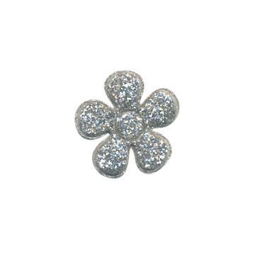 Applicatie glitter bloem zilver klein 20 mm (ca. 25 stuks)