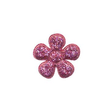 Applicatie glitter bloem fuchsia klein 20 mm (ca. 25 stuks)