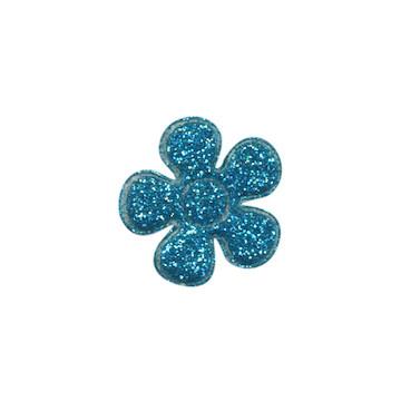 Applicatie glitter bloem blauw klein 20 mm (ca. 25 stuks)