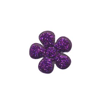Applicatie glitter bloem paars klein 20 mm (ca. 25 stuks)