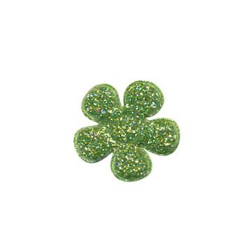 Applicatie glitter bloem groen klein 20 mm (ca. 25 stuks)