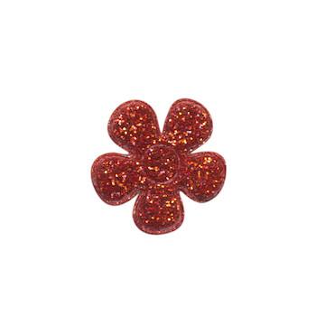 Applicatie glitter bloem rood klein 20 mm (ca. 25 stuks)