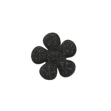Applicatie glitter bloem zwart klein 20 mm (ca. 25 stuks)
