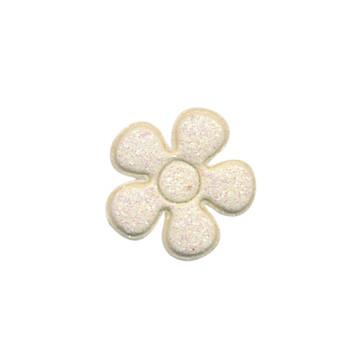 Applicatie glitter bloem creme klein 20 mm (ca. 25 stuks)