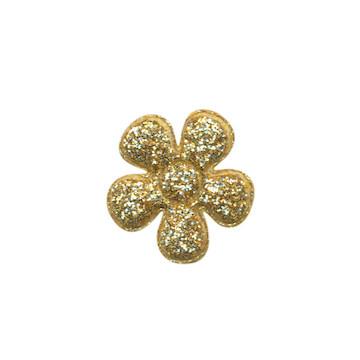 Applicatie glitter bloem geel/goud klein 20 mm (ca. 25 stuks)