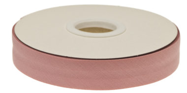 Oud roze gevouwen biaisband 20 mm (20 meter)