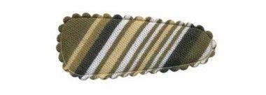 Haarkniphoesje gestreept legergroen 3 cm (ca. 100 stuks)