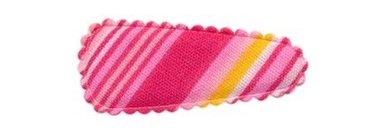 Haarkniphoesje gestreept roze 3 cm (ca. 100 stuks)