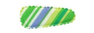 Haarkniphoesje gestreept groen 3 cm (ca. 100 stuks)