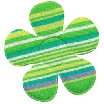 Applicatie bloem gestreept groen groot 45 mm (ca. 25 stuks)