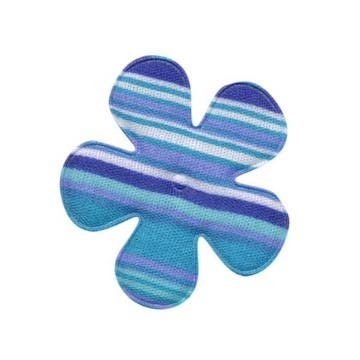 Applicatie bloem gestreept blauw katoen middel 35 mm (ca. 25 stuks)