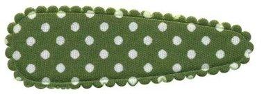 Haarkniphoesje legergroen met witte stip / polkadot 5 cm (ca. 20 stuks)