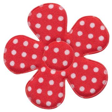 Applicatie bloem rood met witte stippen katoen groot 45 mm (ca. 25 stuks)