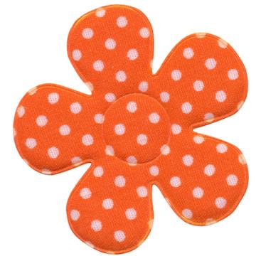 Applicatie bloem oranje met witte stippen katoen groot 45 mm (ca. 25 stuks)