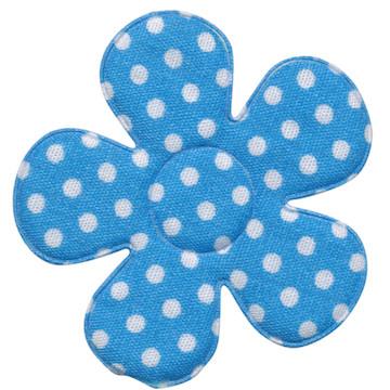 Applicatie bloem blauw met witte stippen katoen groot 45 mm (ca. 25 stuks)