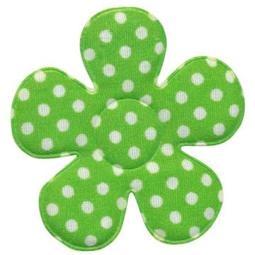 Applicatie bloem fel groen met witte stippen katoen groot 45 mm (ca. 25 stuks)
