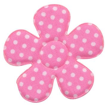 Applicatie bloem zacht roze met witte stippen katoen groot 45 mm (ca. 25 stuks)
