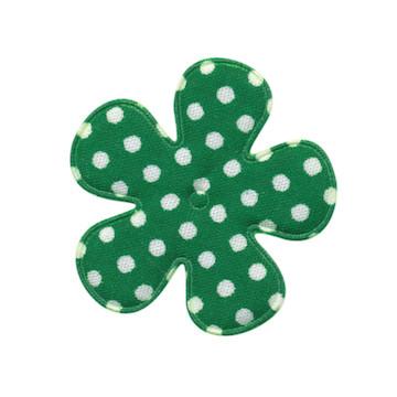 Applicatie bloem donker groen met witte stip katoen middel 35 mm (ca. 25 stuks)