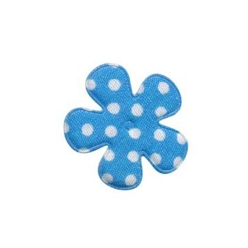 Applicatie bloem blauw met witte stippen katoen klein 25 mm (ca. 25 stuks)