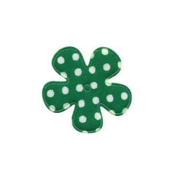 Applicatie bloem donker groen met witte stippen katoen klein 25 mm (ca. 25 stuks)