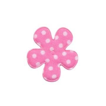 Applicatie bloem zacht roze met witte stippen katoen klein 25 mm (ca. 25 stuks)