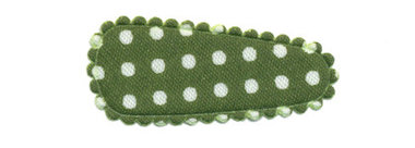 Haarkniphoesje legergroen met witte stip / polkadot 3 cm (ca. 100 stuks)
