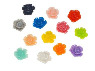 Flatback roos MIX kleuren klein 13 mm (100 stuks)