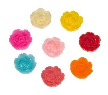 Flatback bloem MIX kleuren middel 18 mm (100 stuks)