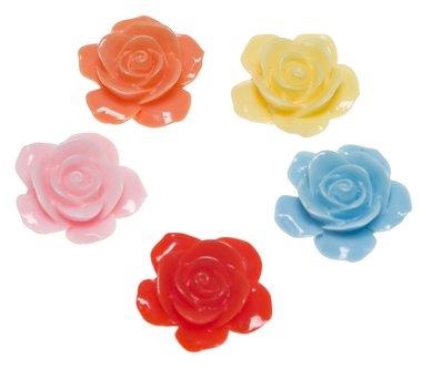 Flatback bloem MIX kleuren groot 28 mm (50 stuks)