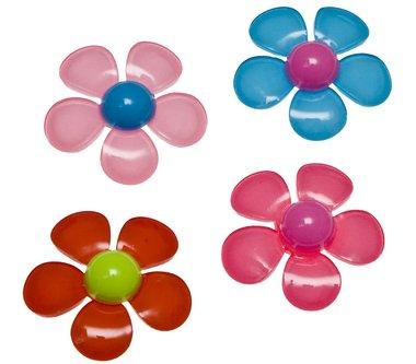 Flatback bloem met gekleurd hart en 5 blaadjes MIX kleuren groot 34 mm (100 stuks)