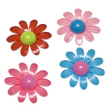 Flatback bloem met gekleurd hart en 10 blaadjes MIX kleuren groot 32 mm (100 stuks)