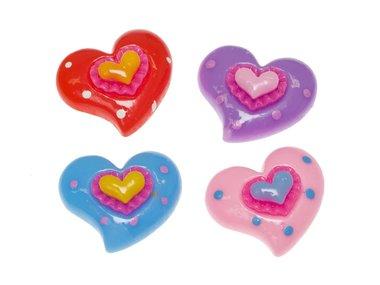 Flatback hart met klein hartje MIX kleuren groot 28x24 mm (100 stuks)