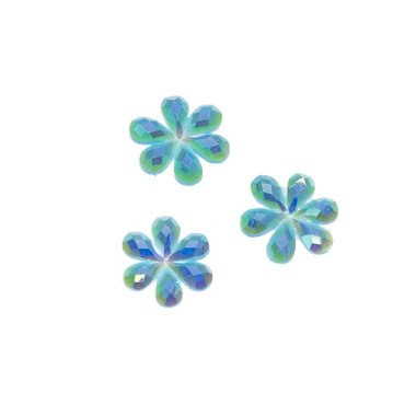 Flatback glitter bloem blauw klein 10 mm (100 stuks)