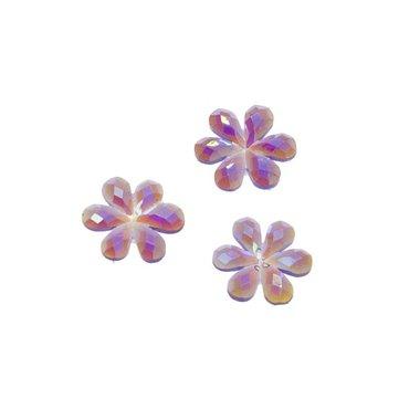 Flatback glitter bloem paars klein 10 mm (100 stuks)