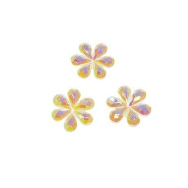 Flatback glitter bloem creme klein 10 mm (100 stuks)