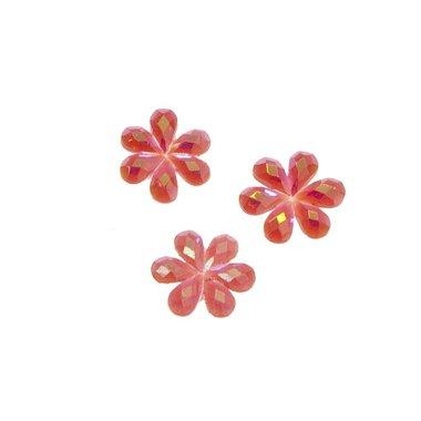 Flatback glitter bloem rood klein 10 mm (100 stuks)