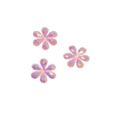 Flatback glitter bloem roze klein 10 mm (100 stuks)